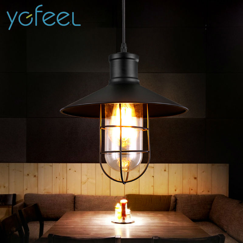 [YGFEEL] Retro Pendant Lights American Country Style Pendant Lamp Industrial Warehouse Lighting Glass Lampshade E27 Holder [ygfeel] village retro pendant lights american country style restaurant bar coffee shop lighting 3pcs e27 holder ac110v 220v