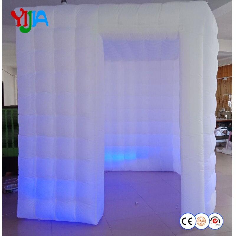 Vente chaude LED bandes portable photo booth blanc gonflable photo booth cabine pour votre photobooth de mariage partie à l'extérieur ou à l'intérieur