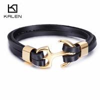 Kalen Men S Trendy Leather Bracelet Stainless Steel Gold Plated Anchor Charm Personalised 21cm Bracelet Punk