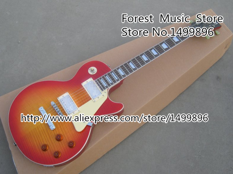 Classical Musical Instrument Cherry Sunburst Flame LP Standard Electric Guitar Red Back Lefty Available