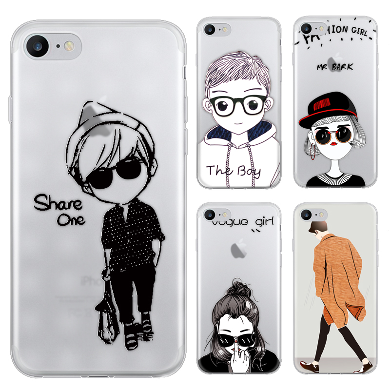 Fashion Cartoon Boy Girl Case For iphone 7 Case For iphone7
