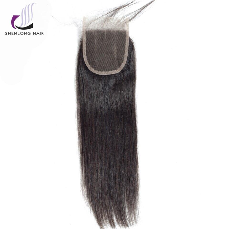 SHENLONG HAIR 4 * 4 Mongolian Straight Lce Closure Mänskligt Hår - Mänskligt hår (svart) - Foto 4