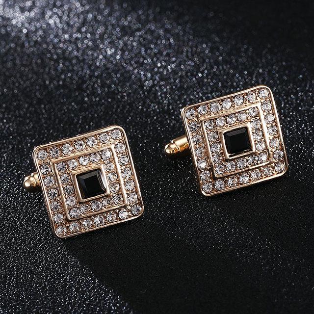 High Cz Cubic Zircon Rhinestone Golden Planted Luxury Elegant French Cuffinks Button