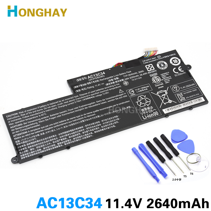 Honghay AC13C34 New Original laptop battery for Acer Aspire V5-122P ICP5/60/80 V5-132 E3-112 V5-122 ZHK 11.4V 30wh 2640mah laptop lcd screen display touch digitiser glass panel assembly bezel b116xan03 2 for acer aspire v5 122p series v5 122p ms2377