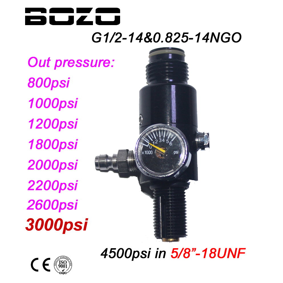 Paintball PCP HPA 4500psi Compressed Air Tank Regulator Output Pressure 800/1000/1200/1800/2000/2200/2600psi Tank 5/8