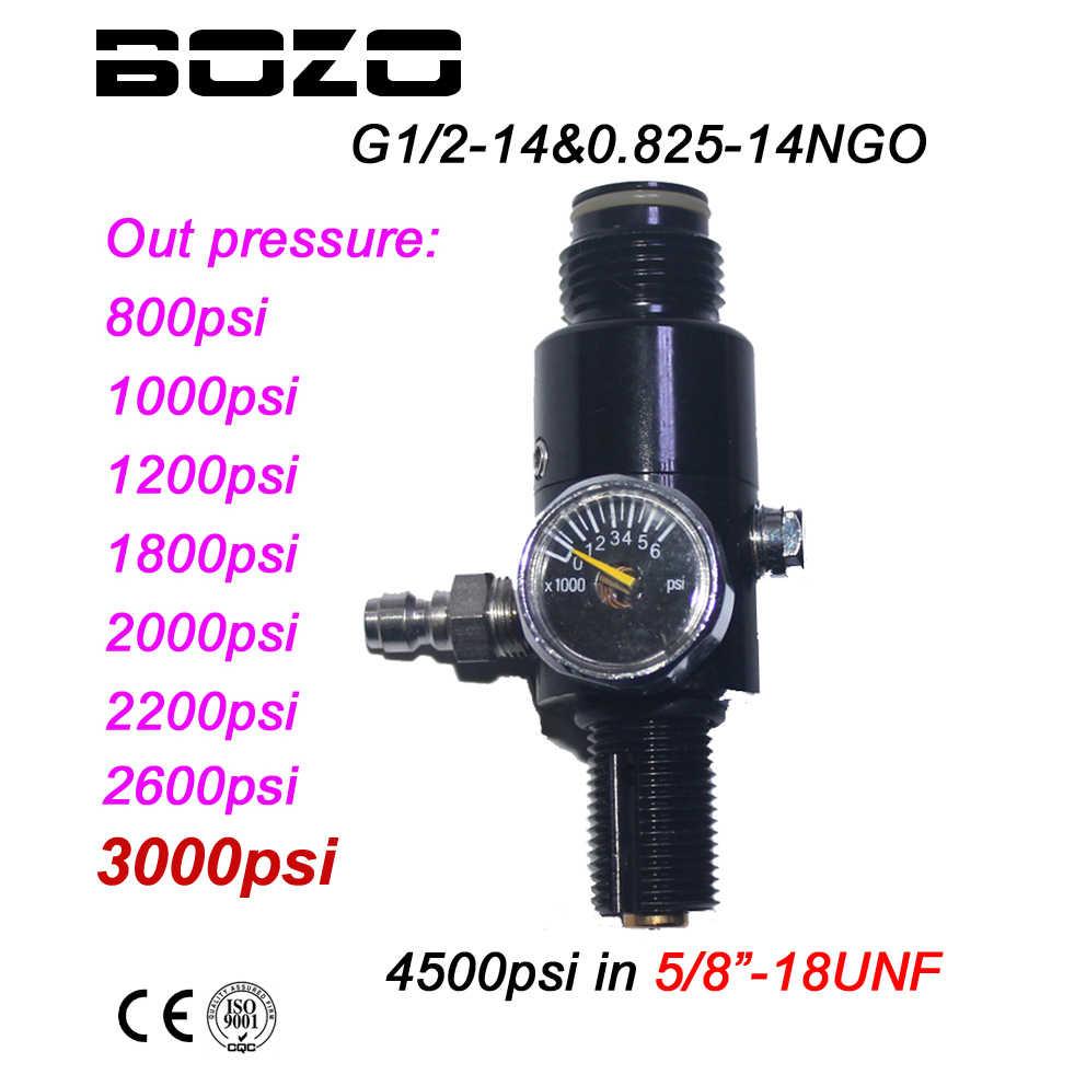 "Paintball PCP HPA 4500psi, regulador de tanque de aire comprimido, presión de salida 800/1000/1200/1800/2000/2600psi, tanque de 2200 ""-18UNF"