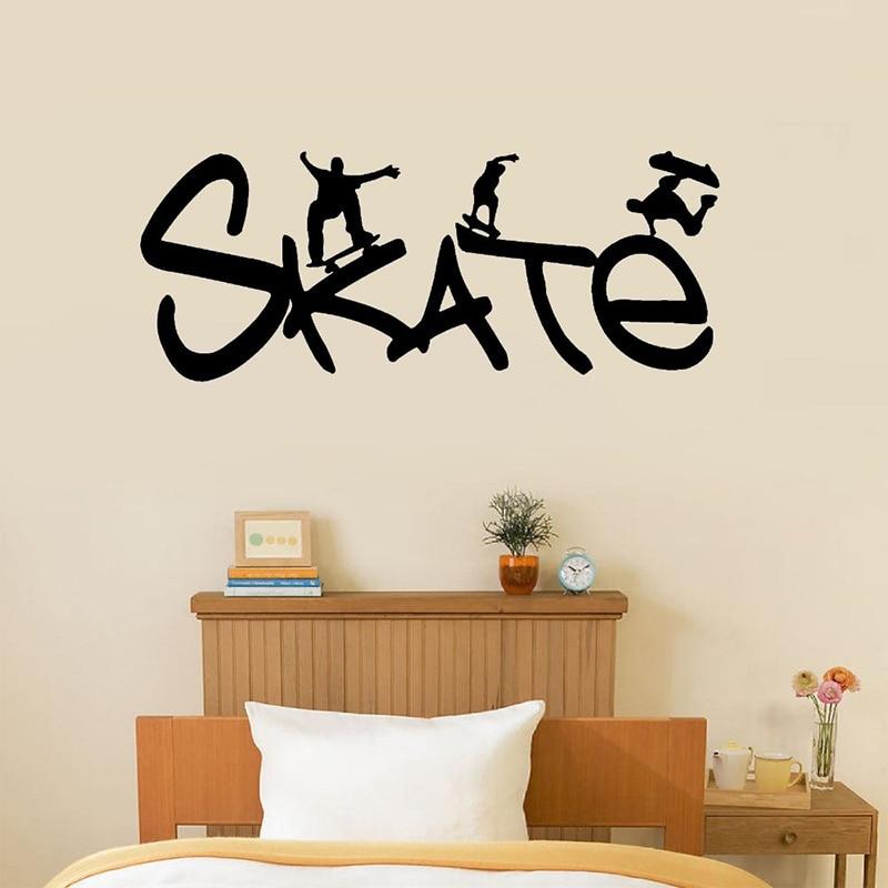 Skate Vinyl Wall Decal Removable Kids Boys Room Decal Skateboarding, Sport Size 55*22cm