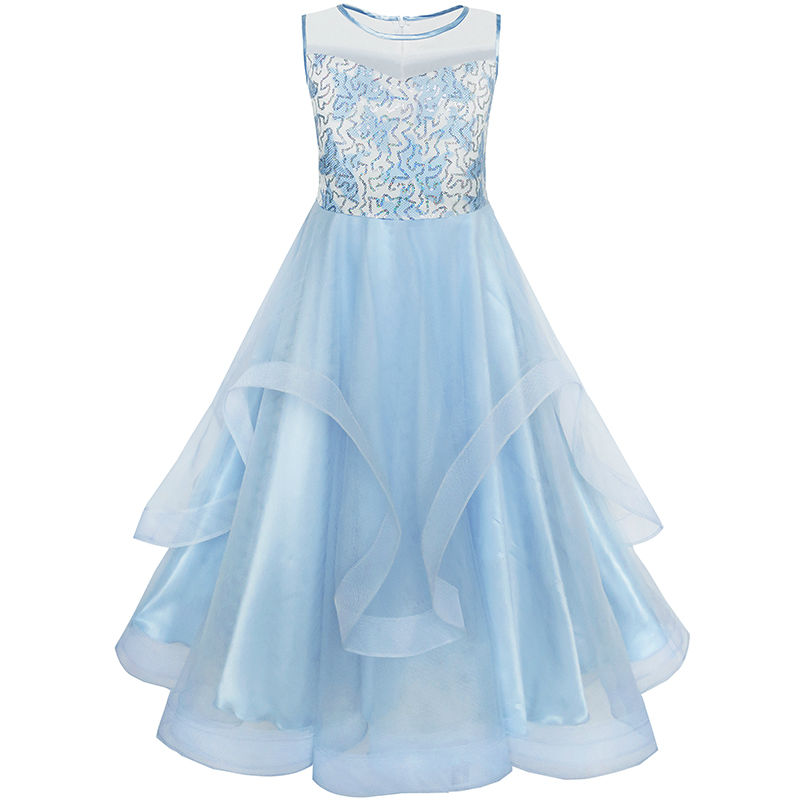 Flower Girls Dress Embroidered Sequin Wedding Pageant Bridesmaid 2018 Summer Princess Party Dresses Kids Clothes Size 7 14 Gowns