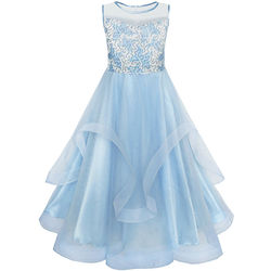 Flower Girls Dress Embroidered Sequin Wedding Pageant Bridesmaid 2018 Summer Princess Party Dresses Kids Clothes Size 7-14 Gowns