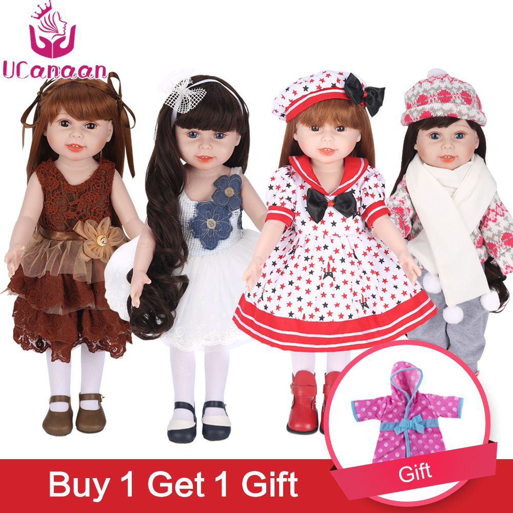 UCanaan 45 cm 18 Inch Girl Doll Handmade Soft Plastic Reborn Baby Toys Girl Dolls for