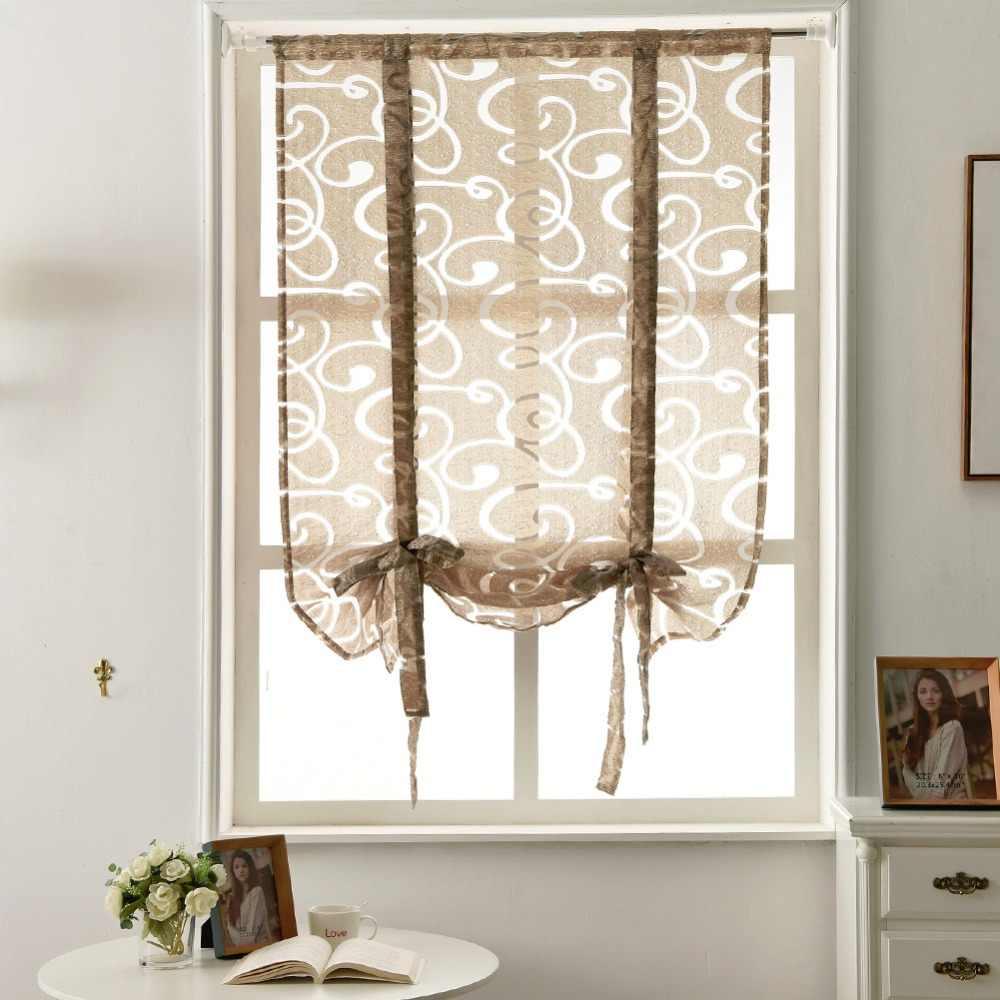 Kitchen short curtains window treatments curtain roman blinds jacquard striped curtains semi-sheer fabrics door panel curtain