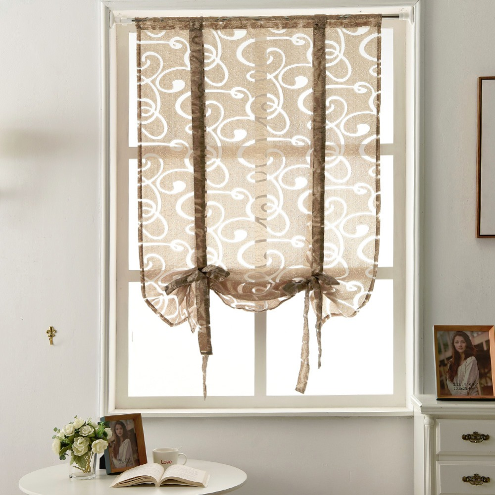 Panel Curtain Fabrics Semi Sheer Kitchen Door Roman
