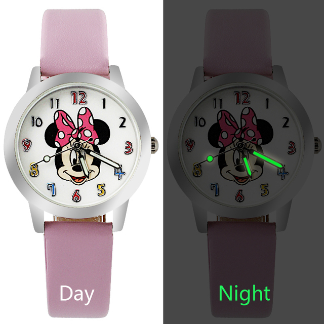 Fashion Cartoon Beautiful girl Minnie mouse style Color number dial children students girl's leather quartz watch Small size
