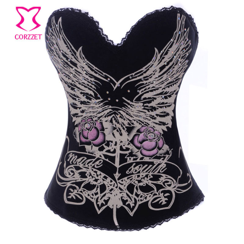 Charming Pattern Print Cotton Push Up Bra Top   Bustier   Sexy Gothic Women Espartilhos   Corset   Corselet Overbust Burlesque Clothing