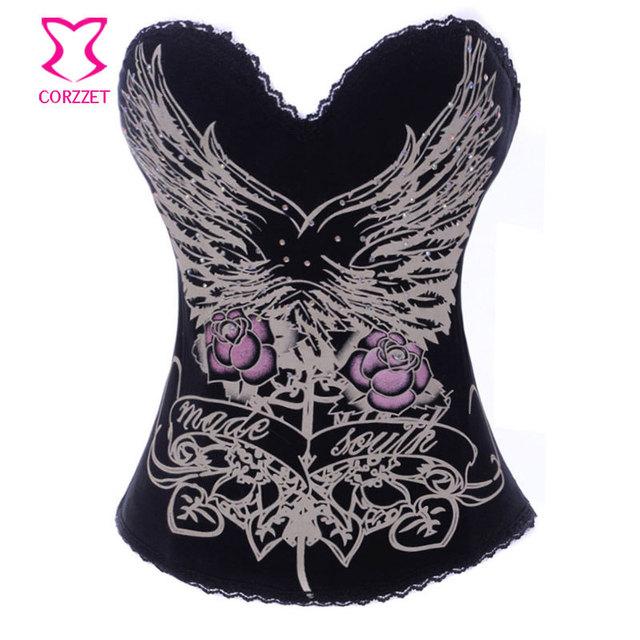 Encantador padrão de impressão de algodão sutiã Bustier Sexy mulheres góticas Espartilhos Corset Corselet Overbust Burlesque roupas