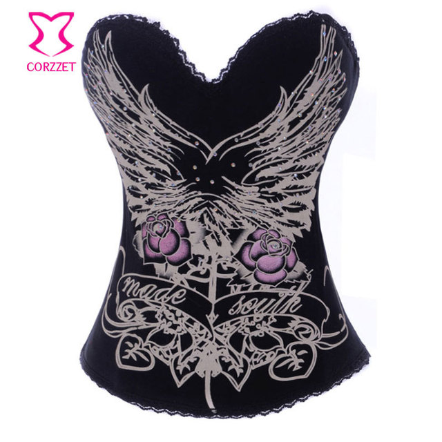 Patrón encanto imprimir algodón Push Up Bra Top más pechugón gót mujeres Espartilhos del corsé del corsé Overbust Burlesque Clothing