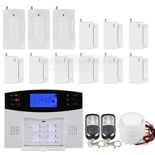DIYSECUR High Sensitivity GSM Sms Home House Alarm System Lcd Screen + 3 Sensors Pir + 9 Door/window + 2 Remote