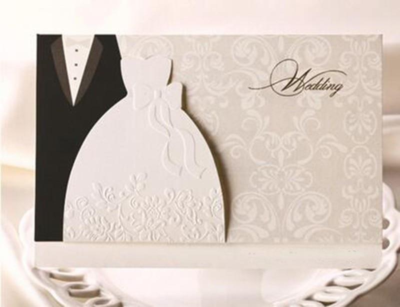 Brides Wedding Invitation Kits: 10pcs Western Style Groom Bride Clothes Relief Wedding