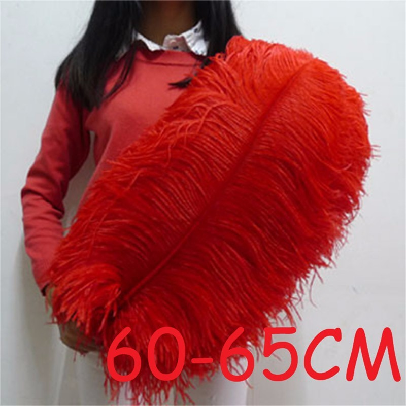10pcs 60 65cm Beautiful Red Huge Ostrich Feathers for Jewelry Craft Making Wedding Party Decor Accessories