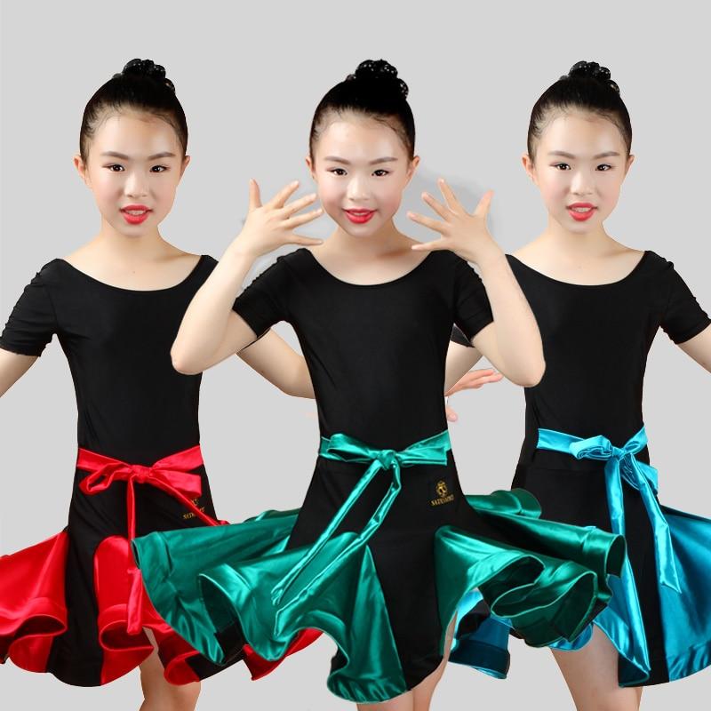Latin Dance Dress Girls Children Summer Tango Salsa Samba Chacha Practice Performance Clothing Professional Show Wear DN2697