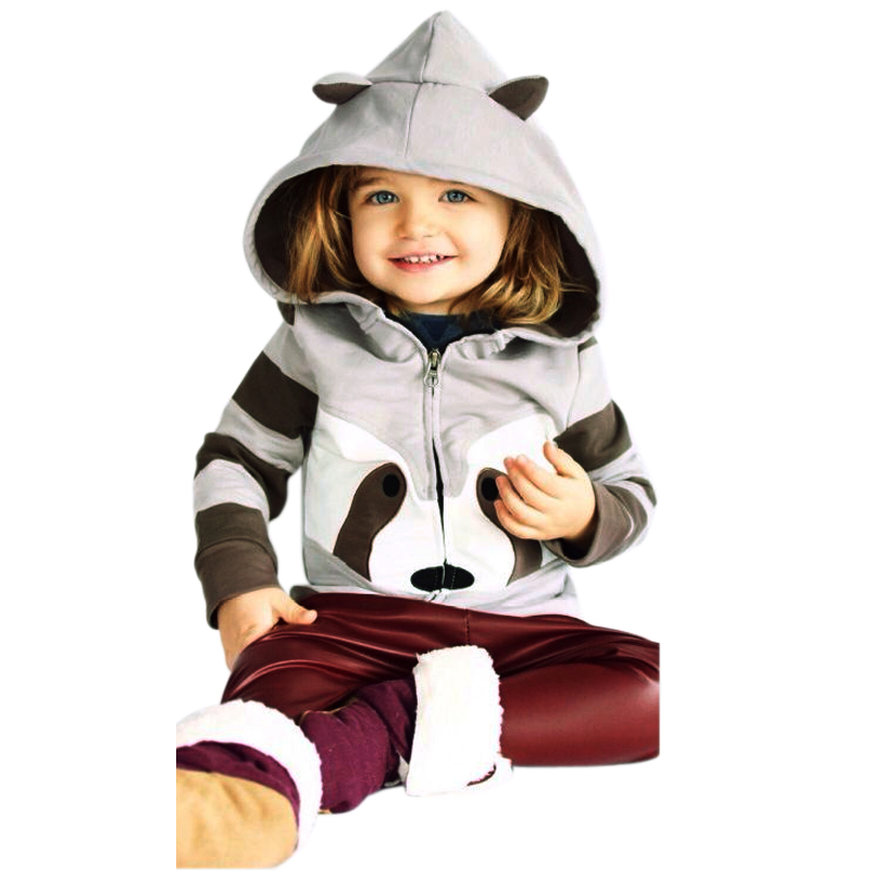 1-5Yrs Children Hooded Sweatshirt Boy Cute Raccoon Ears Animal Hoodies Unisex Kids Clothing Girls Top Coat Baby Casual Outwear