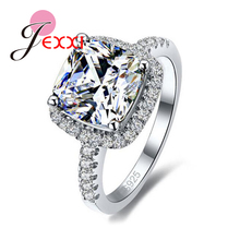 JEXXI Luxury 925 Sterling Silver Wedding Engagement Rings Stone Cubic Zirconia Jewelry For Bridal Ring