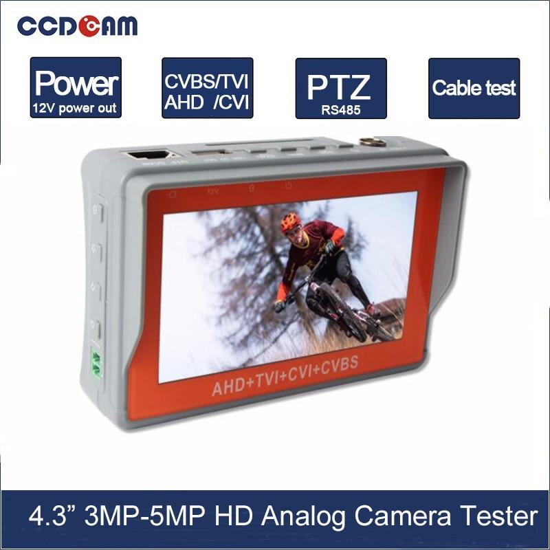 4.3 Inch HD AHD 5MP 4MP 3MP CCTV Tester Monitor TVI 5MP CVI 4MP Analog Camera Tester