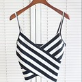 Spring Summer Fashion Casual Camis Black White Stripe Print Tank Top Sexy Bra Women Tops