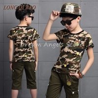 2016 New Hot Sale Summer Kids Boys T Shirt Camo Shorts Set Children Short Sleeve Shirt