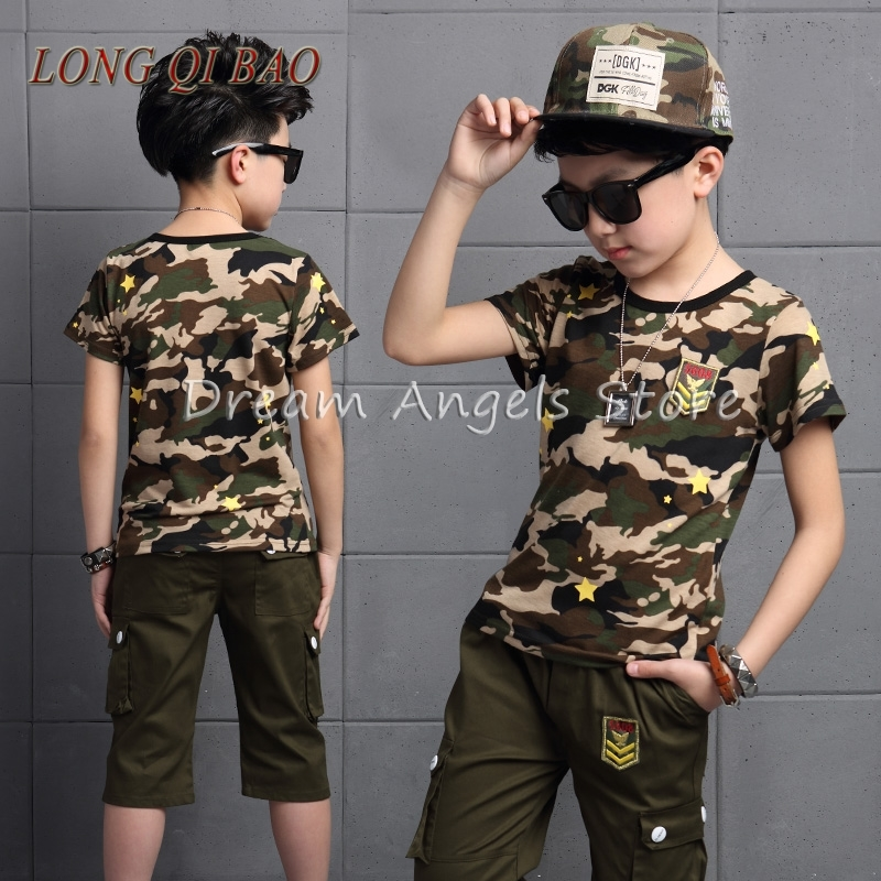 2017 New Hot Sale Summer Kids Boys T Shirt Camo Shorts Set Children Short Sleeve Shirt Boys Clothing Kids Boy Sport Suit Outfit