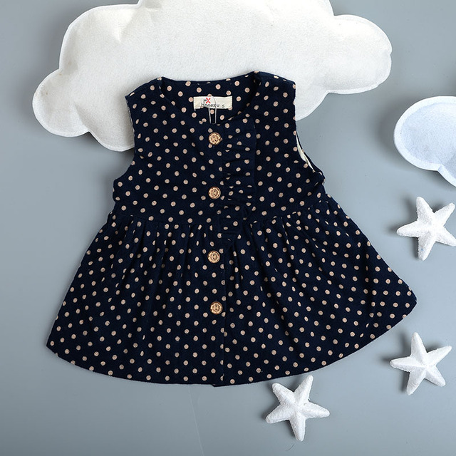 new 2016 spring autumn waistcoat Dress Tutu Party newborn Dress sleeveless Baby Girls Dress polka dot toddler girl dresses