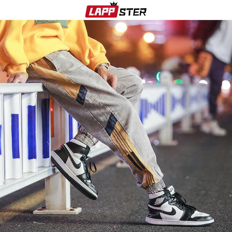 Lappster 男性ストリートジョギングパンツ 2020 ヒップホップカーゴパンツメンズファッションオーバーオール色ブロック黒スウェットパンツプラスサイズ
