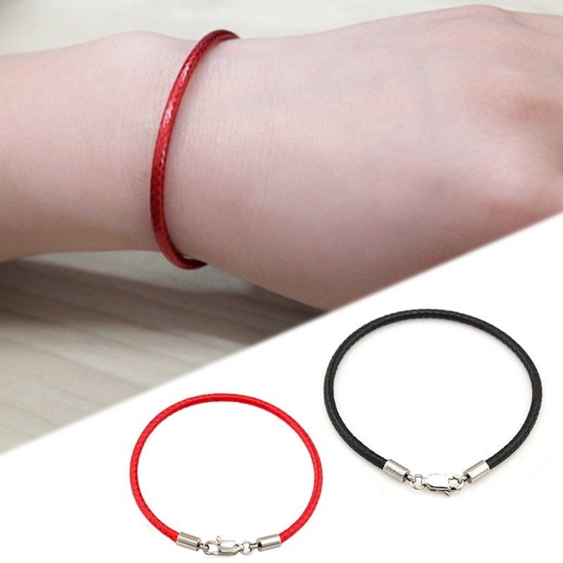 2018 New jewelry Exquesite Wedding bracelets for women Lucky Brecelet 1PC Black/Red Allergy Free Rope Leather bracelet men women