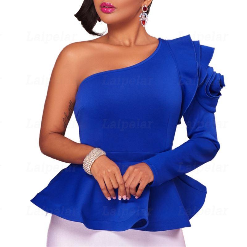 Ruffles One Shoulder Fashion   Blouse     Shirts   2018 Autumn Elegant Black Blue Long Sleeve Peplum   Blouses   Slim Blusas Sexy Women Tops