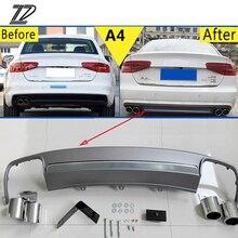 ZD 1 комплект для Audi A4 B8 B9 аксессуары 2009-2012 2013 S4 стиль автомобильный глушитель для выхлопной трубы с заднего бампера Диффузор