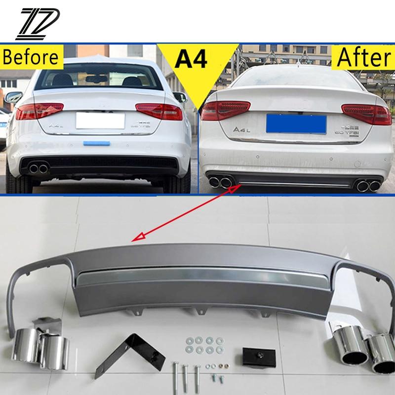 ZD 1 Set Pour Audi A4 B8 B9 Accessoires 2009-2012 2013 2014 2015 S4 style De Voiture D'échappement Conseils Silencieux Tuyau Avec Pare-chocs Arrière diffuseur