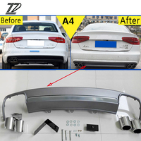 ZD 1Set For Audi A4 B8 B9 Accessories 2009 2012 2013 2014 2015 S4 style Car Exhaust Tips Muffler Pipe With Rear Bumper Diffuser