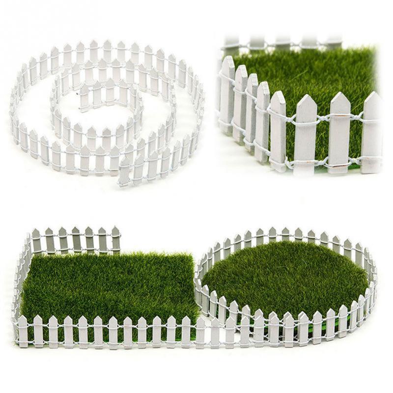 Creative 100*5cm DIY Mini Fence Barrier Wooden Craft Miniature Fairy Garden Terrarium Doll Branch Palings Showcase Decoration