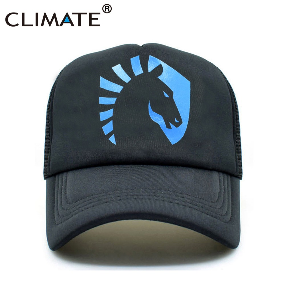 CLIMATE Men Women Summer Mesh Trucker Caps Hot Liquid Team Miracle Fans Black Mesh Cap Cool Blue Horse Sports Caps Hat For Men climate new summer cool black mesh trucker caps guardians of the galaxy groot fans printing meh youth nice mesh cool summer caps