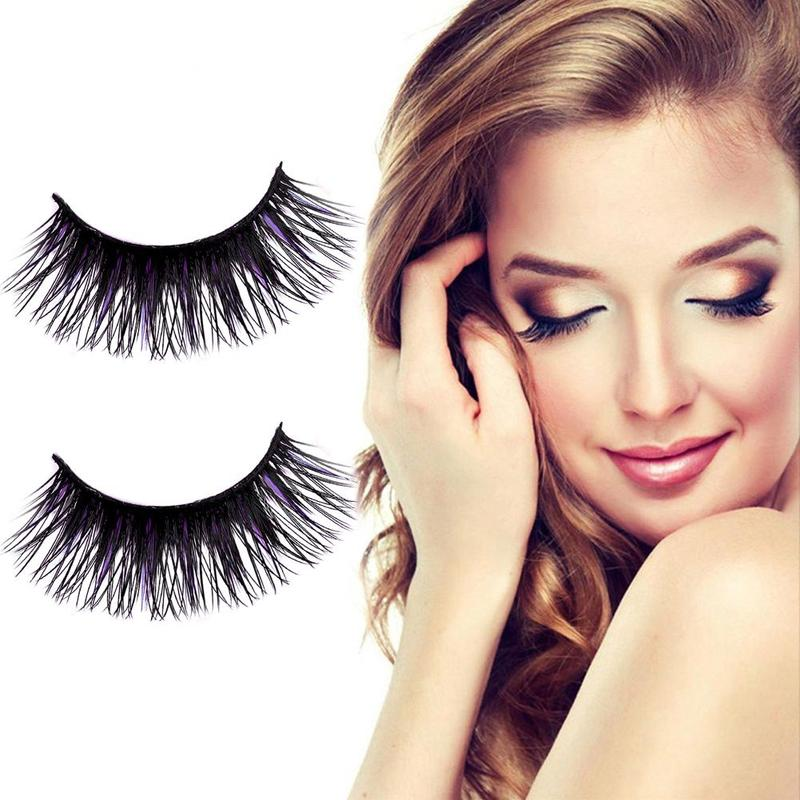 5pair/set Black & Purple Color 3D False Eyelashes Extention Women Long Soft Thick Handmade False Eyelash Make Up Eye Lashes