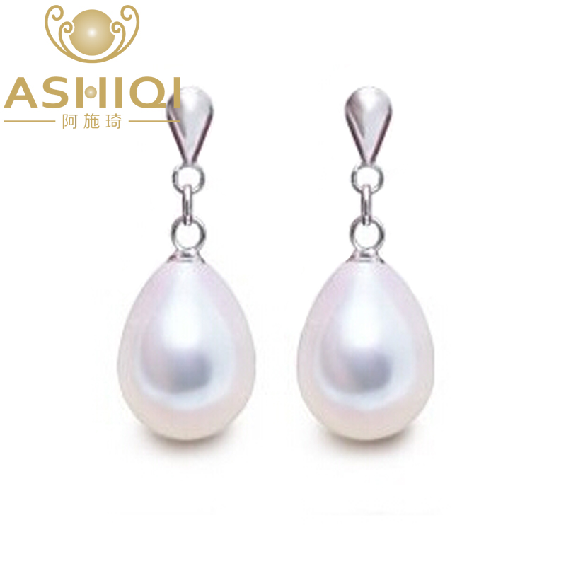 ASHIQI New 925 Sterling Silver Natural Freshwater Pearl Drop Earrings , pear Pearl Jewelry For Women