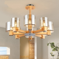 modern Mission Wooden Chandeliers ceiling For Living Room Grass Lampshade Lighting Lustres Para for kitchen De light fixtures