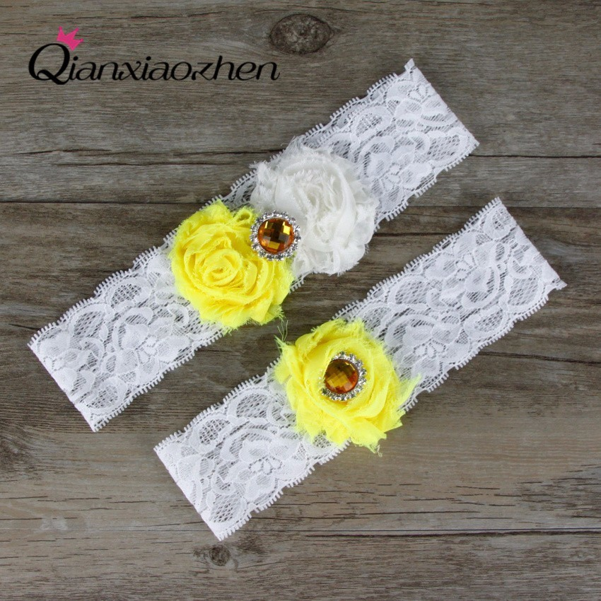 Qianxiaozhen 2pcs/set Yellow And White Lace Leg Wedding
