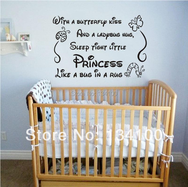 English quote  With a butterfly kiss  for kids rooms girl removable art vinyl nursery & English quote