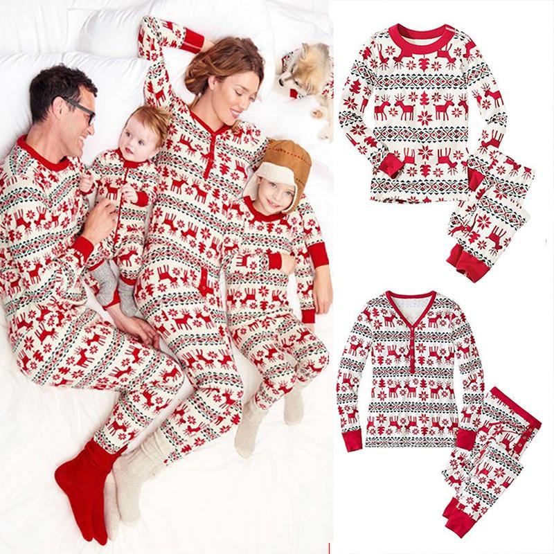 Matching Family Christmas Pajamas Clothes Cute Print Long ...