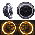 """2x 7"""" Inch Round Motorcycle LED Headlight H4 H13 Hi Lo Beam Headlamp Angel Eye DRL Turn Signal For Jeep Wrangler Harley Daymaker"""