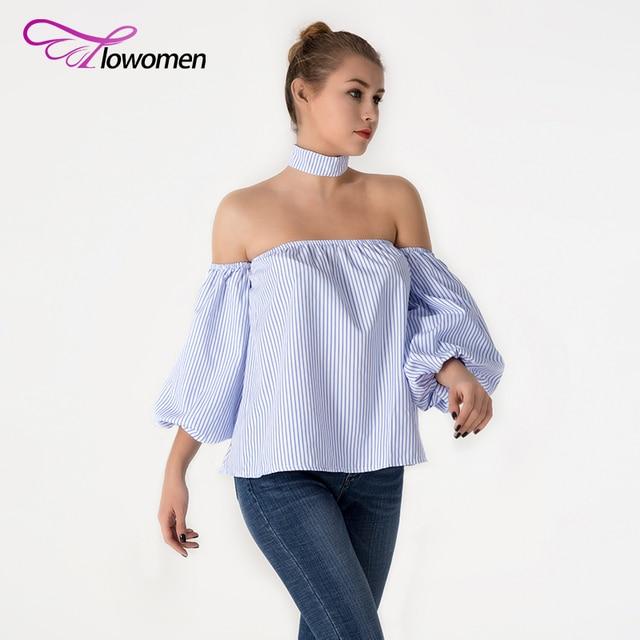 27c9d91476d6f4 Flowomen Sexy Off Shoulder Striped Shirt Blouse Top Women Spring Summer  fashion Casual Lantern Sleeve Shirts blusas With Choker
