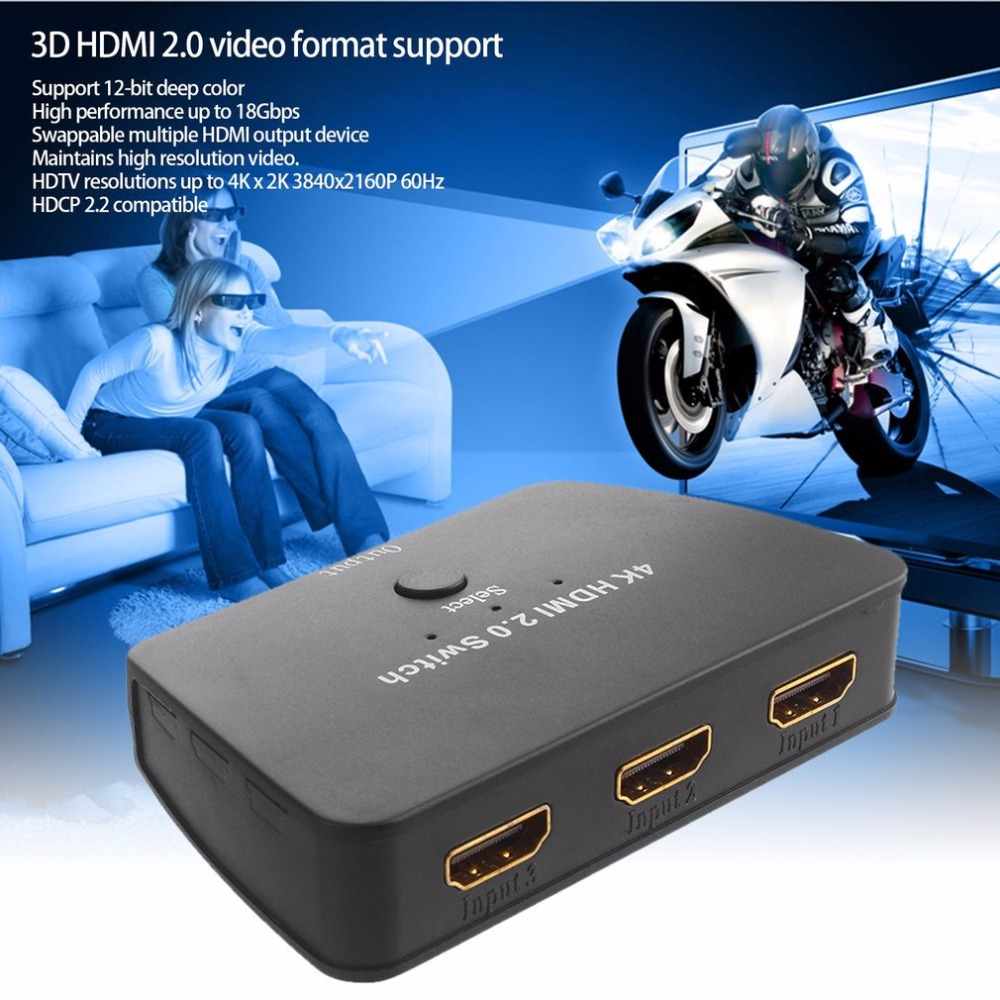 цена на 3 Port HDMI Switch Switcher Ultra High Definition 4K HDMI Splitter HDMI Port for XBOX 360 Smart Android PC 3 Input to 1 Output