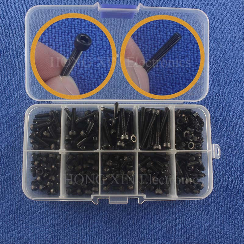 240pcs/set Alloy Steel Screw M3 black screws bolts M3*4/5/6/8/10/12/16/20/25 Hex Socket Head Cap Screw Nut kit Grade 12.9 yuan cup half round pan head black grade 10 9 carbon steel hex socket head cap screw m3 m4 6 8 10 12 14 16 20 25 50