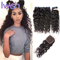 Peruvian Virgin Hair Water Wave With Closure Wet And Wavy With Closure Ocean Wave Curly Weave Human Hair Extensions With Closure